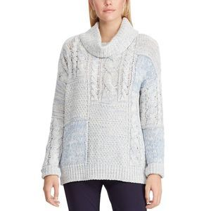 Chaps Patchwork Cowlneck Sweater New